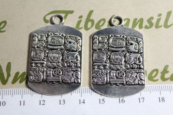 2 pcs per pack 30x40mm 9 Signs of Mayan Glyph Solid Pendant Antique Silver Finish Lead Free Pewter