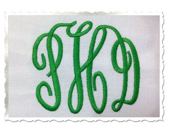 Classic 3 Letter Monogram Machine Embroidery Font Alphabet - 3 Sizes
