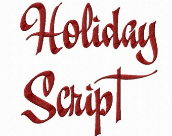 Holiday Script Machine Embroidery Font Monogram Alphabet - 3 Sizes