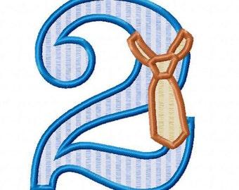 Necktie Applique Numbers Machine Embroidery Designs - 4 Sizes