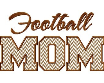 Football Mom Applique Machine Embroidery Design - 3 Sizes
