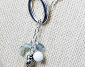 Mint Briolette Crystal and Metal Ladybug Lariat Style Necklace - SarahBethDesign