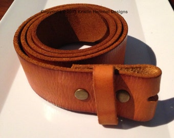 Tan/Carmel full grain leather snap belt sizes XS-XL