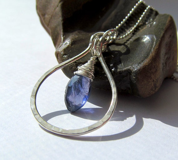 Iolite Sterling Pendant Necklace - sterling teardrop, wire wrapped briolette