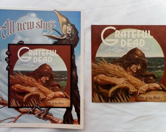 Vtg Original 1973 Grateful Dead, Wake of The Flood Record Promotional Postcard and Sticker, 1 of Each. 7 Sets Total.