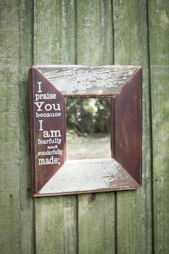 Hand Painted Bible Verse on 15x16 inch Mirror Made From An Old Hardwood Door