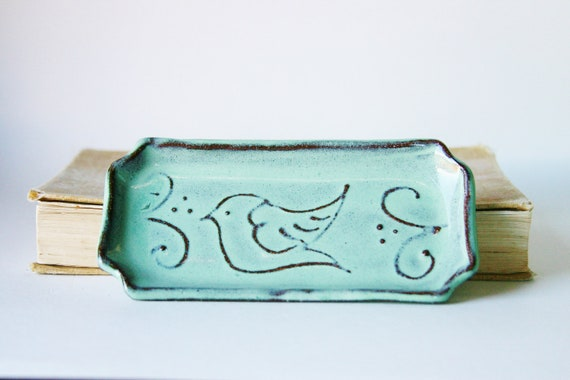 Bird Spoon Rest - Jewelry Tray - Soap Dish - Aqua Mist French Country Dinnerware