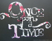 Once upon a time die cut Black and foil pink with gems STORE CLOSING CLEARANCE