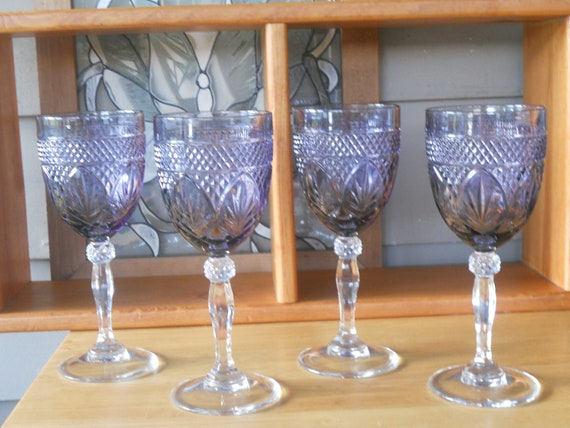 Vintage Purple Hand Cut Crystal Water Goblets