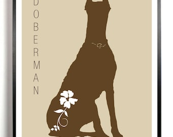 Doberman Pinscher Dog Art Print, Doberman Silhouette, Modern Dog Wall Art, Gift