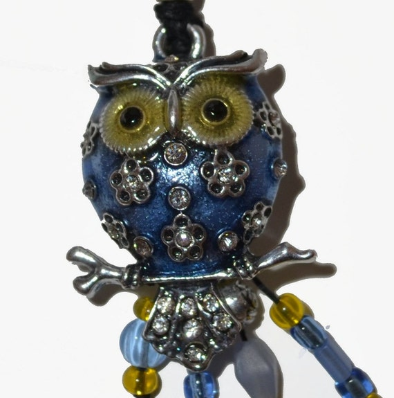 Holiday Gifts Owl Cornflower Blue Yellow OOAK Keychain or Purse Jewelry Hand-Made Graduation GIfts