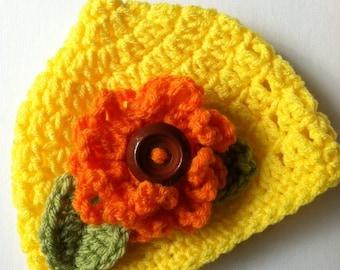 Crochet Baby Hat, Orange Flower, Crochet Baby Hat, Newborn Hat, Pixie Hat, Baby Hat, Hat with Flower, Baby Girl Hat, Yellow Infant Hat