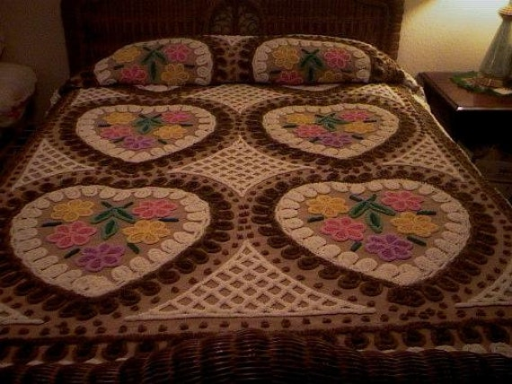 SALE - Beautiful MOCHA Brown HEARTS, Flowers and Curliques Vintage Chenille Bedspread - Free Shipping