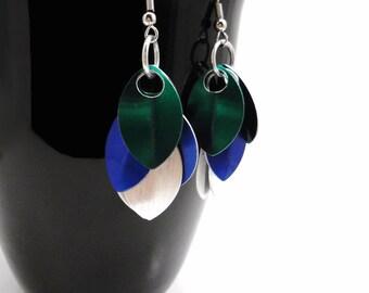 Blue Dragonscale Earrings