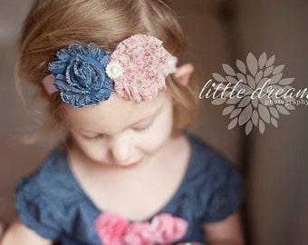 Pink Floral Chiffon and Denim Flowers with Rhinestone Center on Elastic Headband - Newborn Baby - Boho Chic - Photo Prop