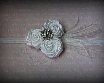 White elegance rosette headband