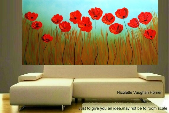 ORIGINAL Abstract painting on gallery wrap canvas RED POPPIES by Nicolette Vaughan Horner Large size 4ft by 2ft