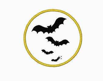 Circle bat Halloween applique INSTANT DOWNLOAD