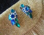 Vintage Rhinestone Earrings Aqua Blue Green Stones 1950's Old Hollywood Glam Mad Men Mod Jewelry