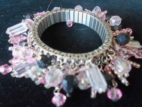 Vintage Charm Bracelet Pink White Black Beaded Expandable Mad Men Mod Jewelry