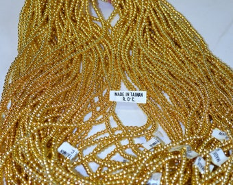 """4MM Gold Pearl Bead 34"""" Strings 10 pieces"""