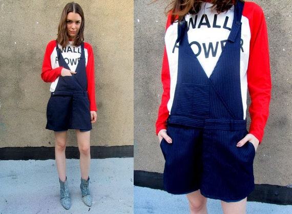 Pinstriped Navy Blue Overalls School Girl Preppy Uniform Mini Dress