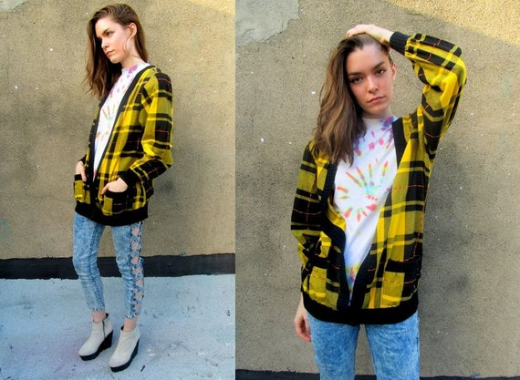 Plaid Yellow CLUELESS Deep V Oversized Baggy Cardigan Shirt