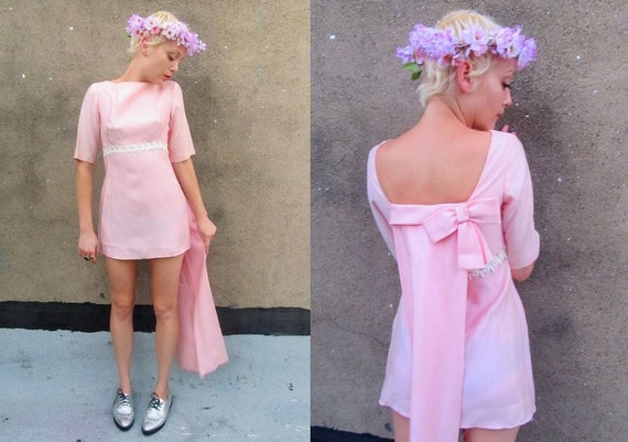 60's Pastel Pink Floral Wedding Bustle Mini Mod Dress
