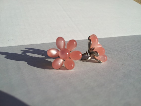 Delicate Light Pink Flower Clip On Earings