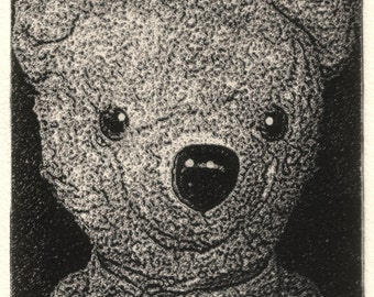 Old Friend, a limited edition, signed,  etching of an antique teddybear.