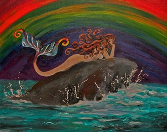 "Rainbow Mermaid original 16""x20"" acrylic painting on stretched canvas. Ready to hang."
