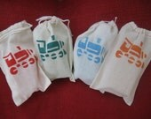 20 Linen Favor Bags for Train themed Parties