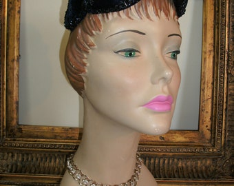 Vintage 1950's Navy Blue Velvet Hat with Beads