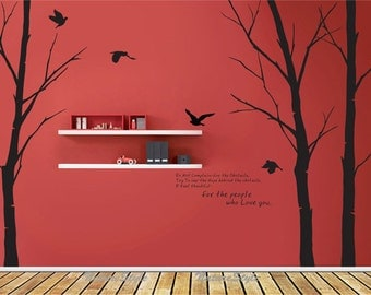 winter wall decal trees nursery wall decal vinyl wall decal letters wall decal sticker flying birds decal black decal-Three Winter Trees