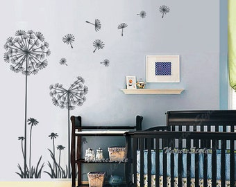 dandelions wall decals nursery wall decal baby girl wall decal floral children vinyl wall sticker kids girl boy room boy decals -Dandelions