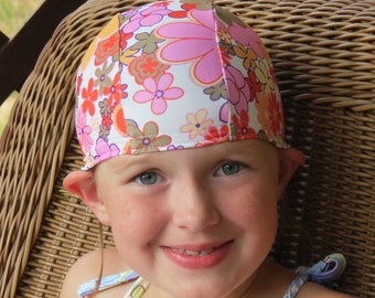 Lycra SWiM CaP - PINK FLORAL - Sizes - Baby , Child , Adult , XL - Made from Spandex / Swimsuit Swimming Fabric -by Froggie's Swim Caps