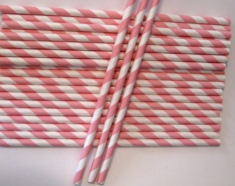 10 Paper Light Pink & White Striped Straws - Free Printable Straw Flags