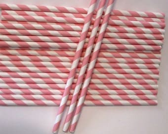 25 Paper Light Pink & White Striped Straws - Free Printable Straw Flags