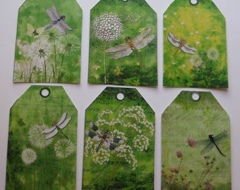 6 Dragonfly & Floral Tags