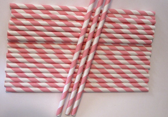 """50 Light Pink and White Paper Striped Straws (7-3/4"""")"""