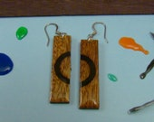 Wood Earrings -Mahogany & Black half circle