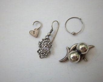 Vintage Ass't. Silver Random Earrings Bits & Pieces