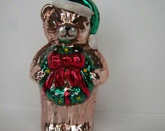 Vintage Teddy Bear Christmas Ornament w/ Wreath & Santa Hat