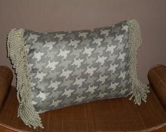 Grey Tones Lumbar Pillow with Fringe