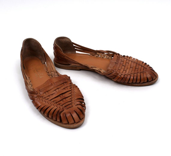 1980s 1990s Huarache Sandal Leather Womens Shoe size 9 / New Old Stock