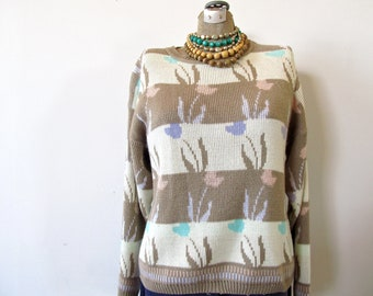 oatmeal and cream. vintage 70s tulip print striped sweater. slouchy jumper.