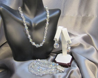 Vintage 1950's Borealis Cut Crystal Necklace, Bracelet and Matching Earrings Parure