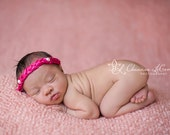 Newborn Photo Prop Pink Braided Satin Headband With Pearls on Elastic Baby Girl Headband