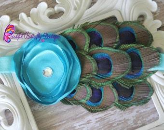 Turquoise Peacock Baby Headband - Newborn Headband - Photo Prop - Blue Flower - Turquoise Feather Headband - Peacock Bow- Infant Headband