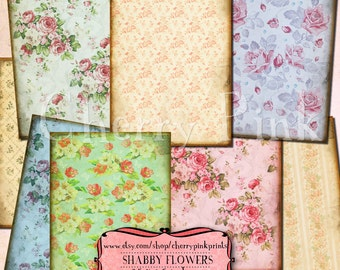 Flower Collage Sheet, shabby chic vintage floral graphics, floral atc, grungy textures, tattered edge, instant download for scrapbooking